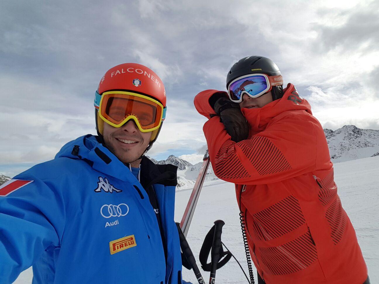 Christof Innerhofer e lo skiman Rossignol Ales Kalamar