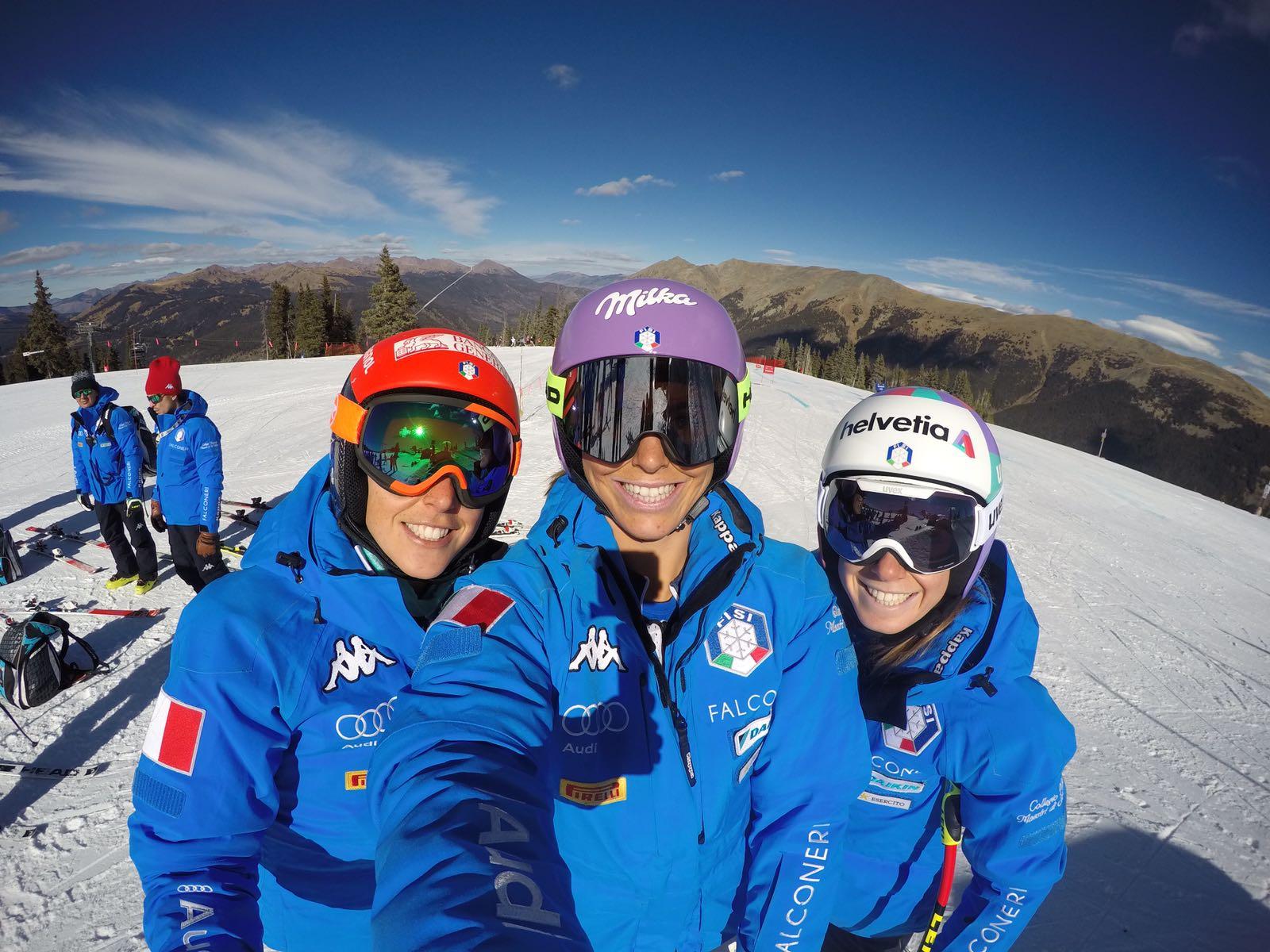 Federica Brignone, Elena Curtoni e Marta Bassino (@Curtoni)