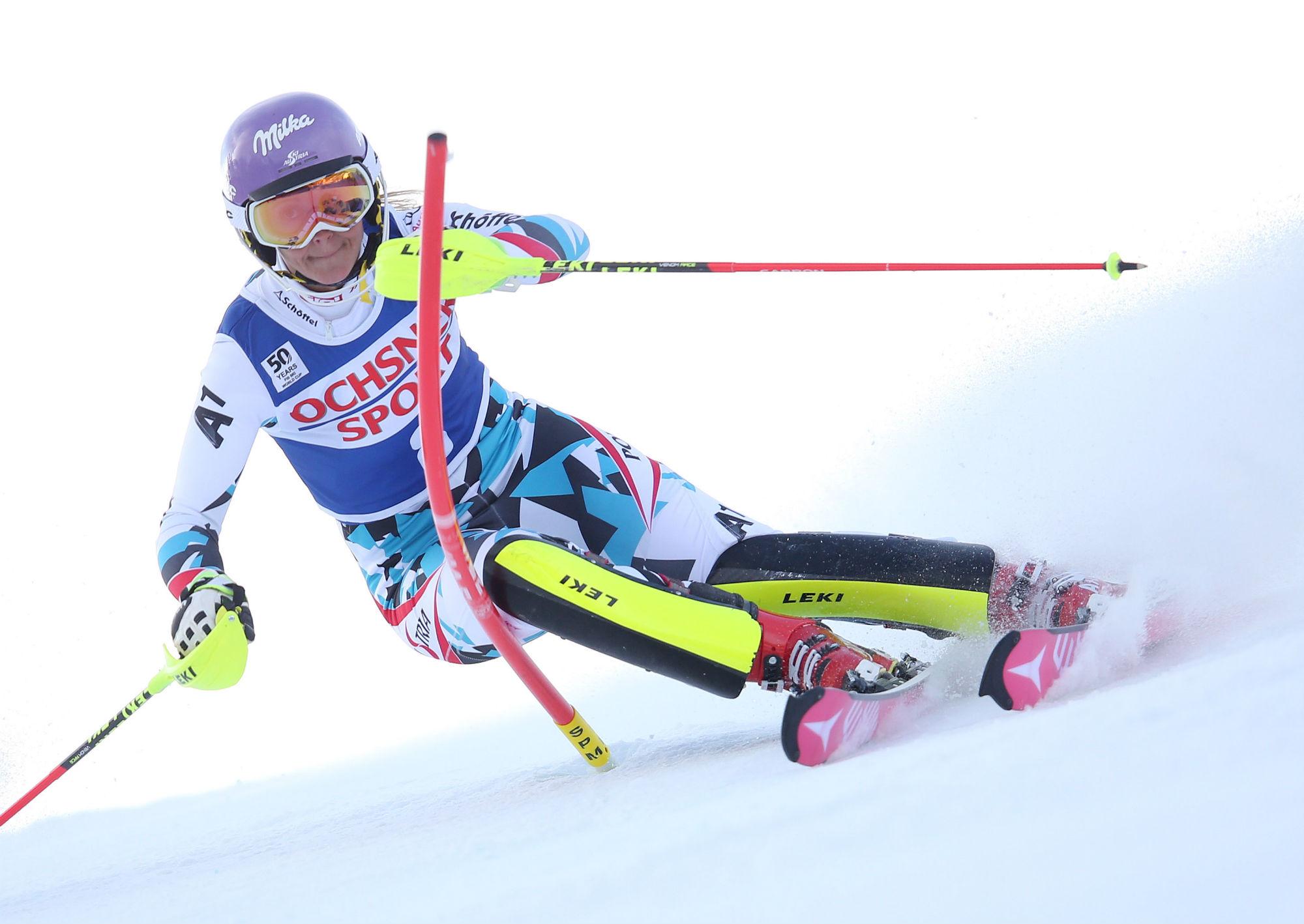 Kirchgasser in azione in slalom a Killington (Gepa-Atomic)