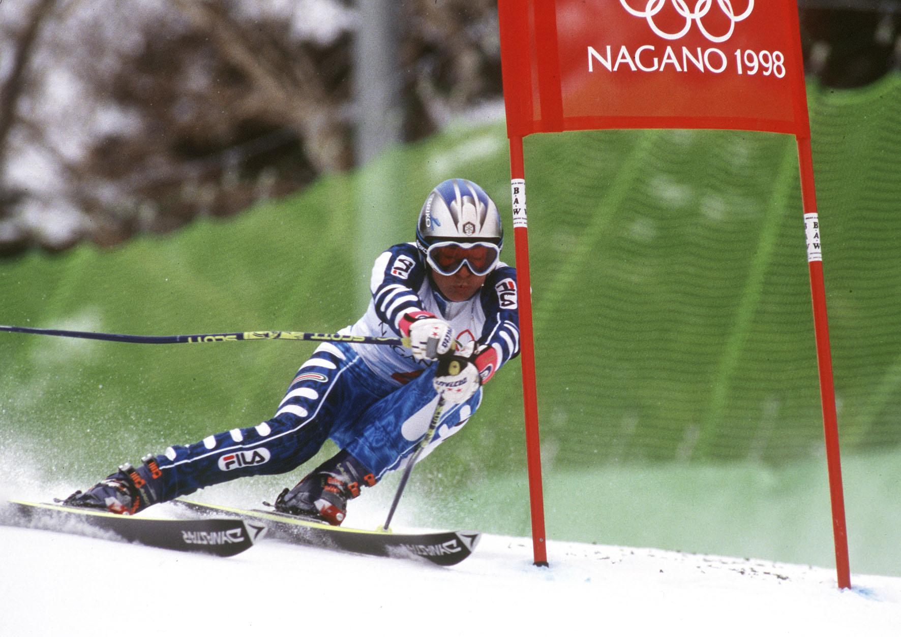 Deborah Compagnoni in azione in gigante a Nagano '98. Terzo oro olimpico in carriera (@FISI/Pentaphoto)