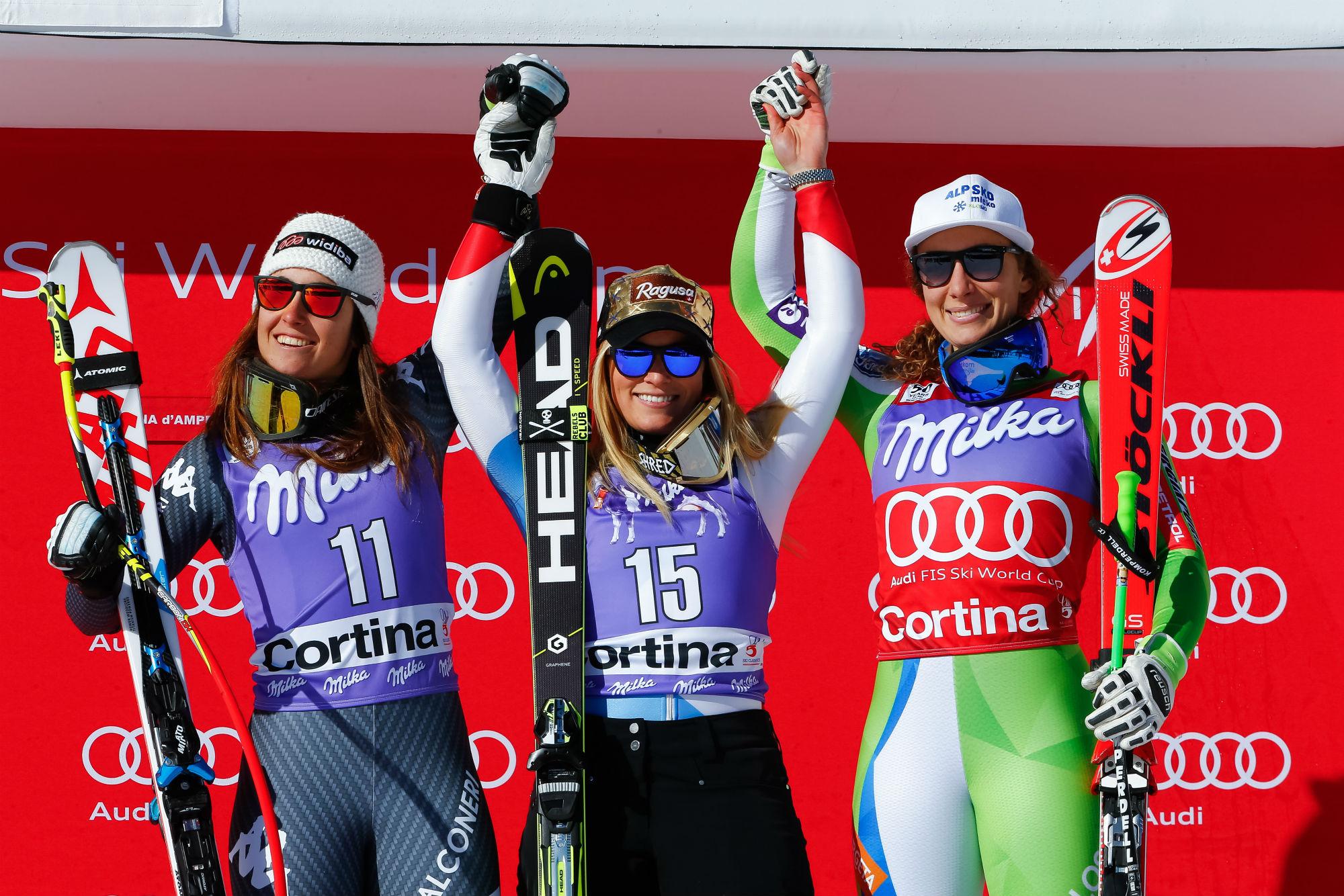 Sofia Goggia, Lara Gut e Ilka Stuhec sul podio in discesa a Cortina (@Zoom agence)