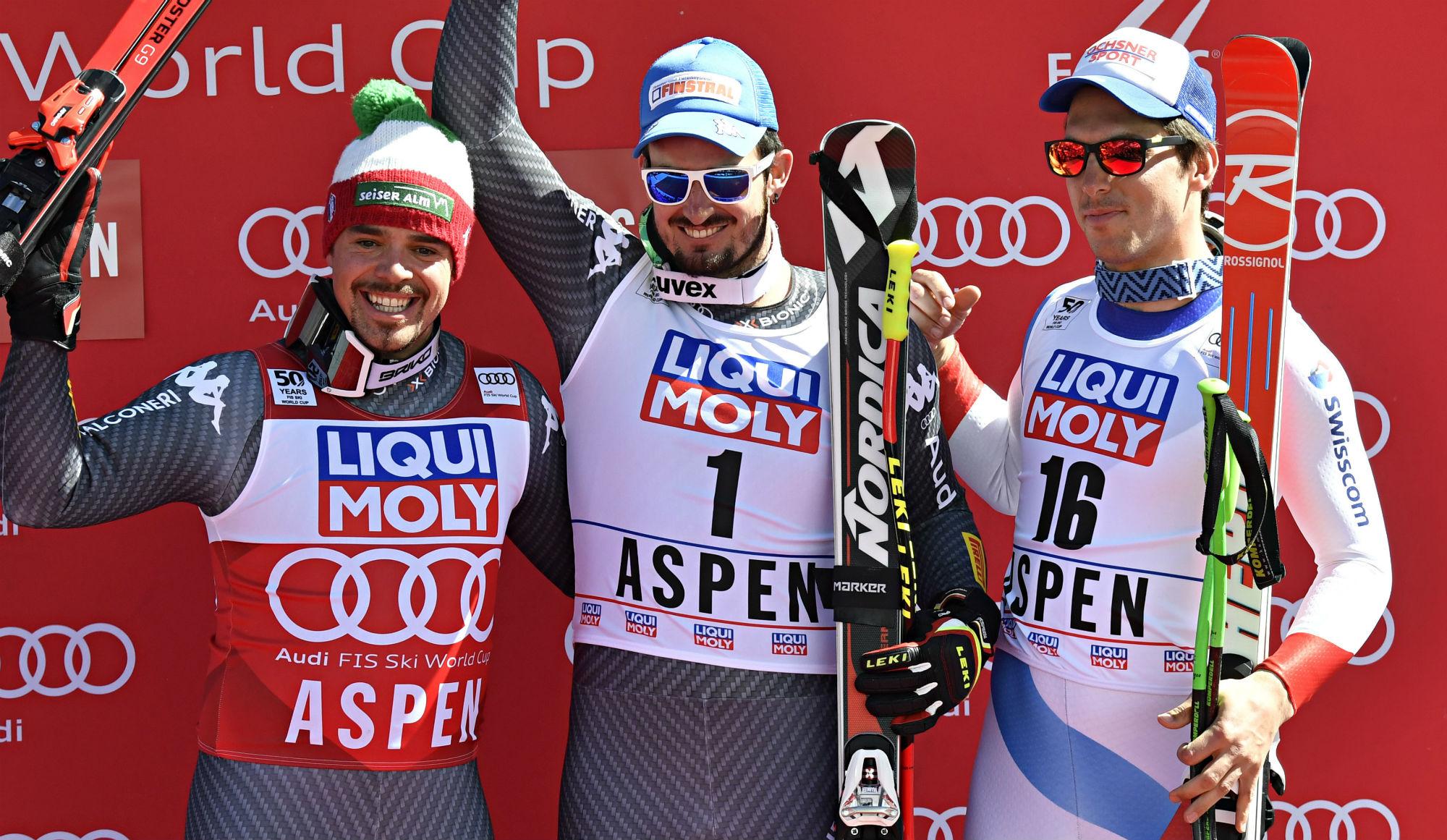 Peter Fill, Dominik Paris e Carlo Janka sul podio dell'ultima discesa libera stagionale, ad Aspen (@Zoom agence)