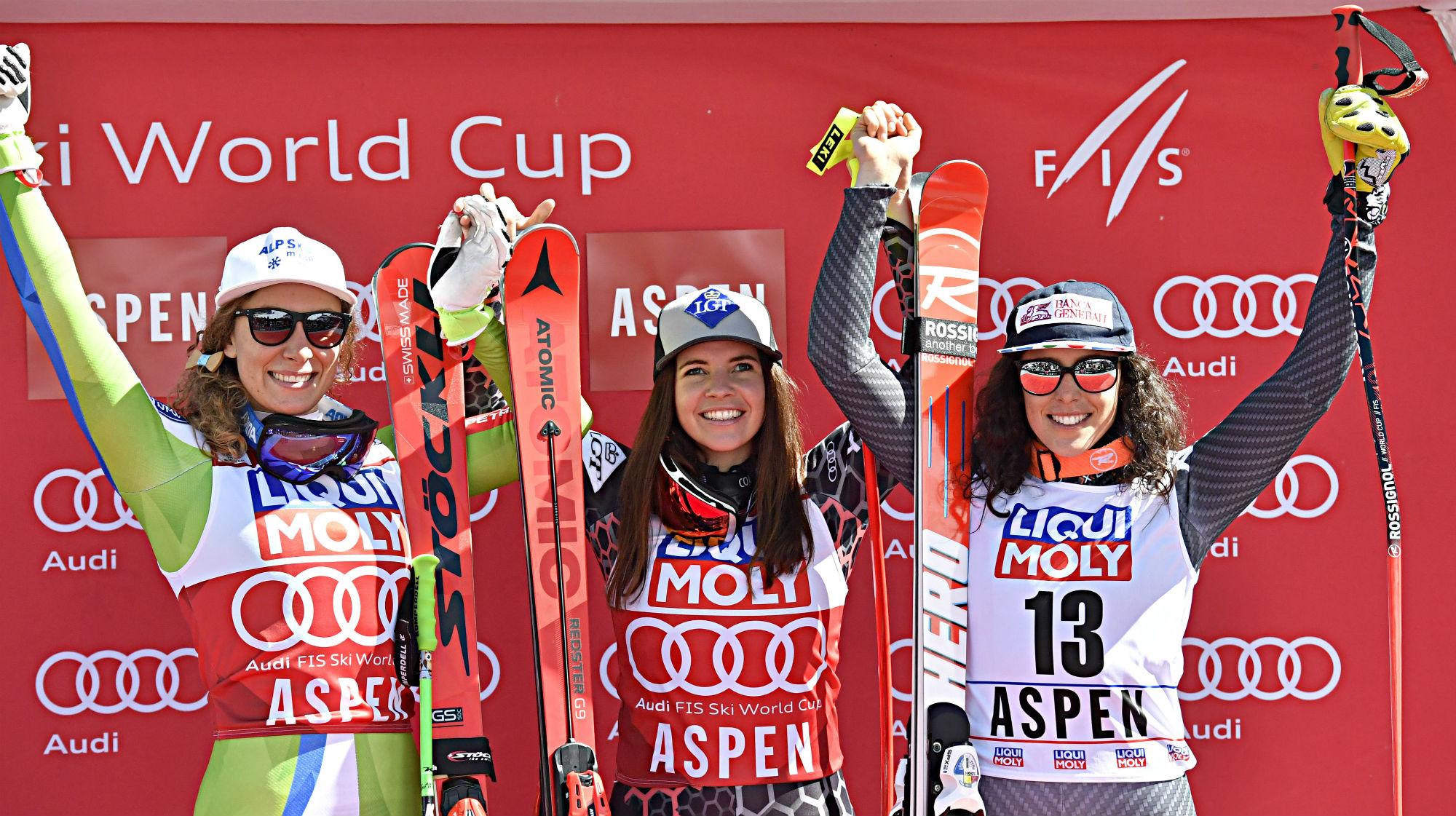 Ilka Stuhec, Tina Weirather e Federica Brignone sul podio del superG ad Aspen (@Zoom agence)