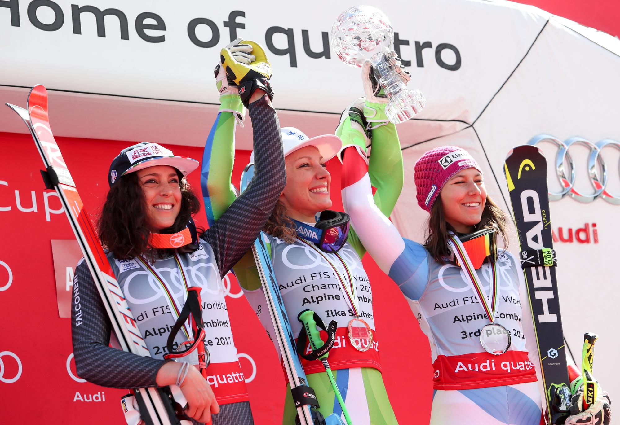 Federica Brignone, Ilka Stuhec e Wendy Holdener sul podio finale della graduatoria di combinata alpina 2016-2017 (@Pentaphoto)