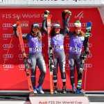 Sofia Goggia, Federica Brignone e Marta Bassino sul podio ad Aspen. La storia si compie il 19 marzo 2017 (@Pentaphoto)