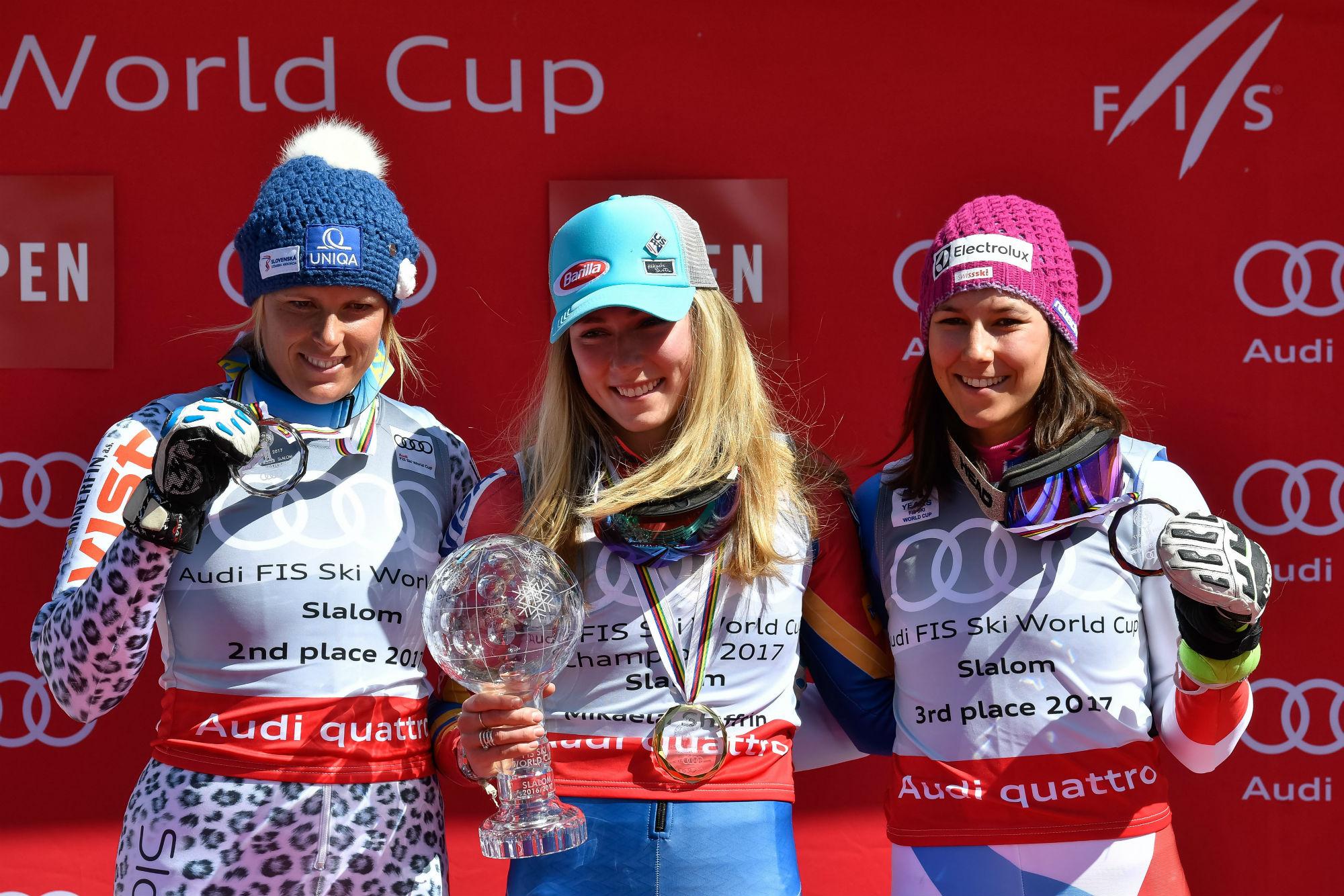 Veronika Velez Zuzulova, Mikaela Shiffrin e Wendy Holdener sul podio della classifica di specialità in slalom (@Zoom agence)
