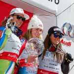 Ilka Stuhec, Mikaela Shiffrin e Sofia Goggia sul podio della classifica finale di Coppa del Mondo femminile 2016-2017 (@Zoom agence)