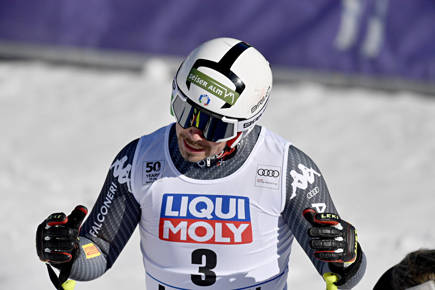 ASPEN, USA - MARCH 15: Peter Fill of Italy takes 2nd place, wins the globe in the overall standings during the Audi FIS Alpine Ski World Cup Finals Women's and Men's Downhill on March 15, 2017 in Aspen, USA (Photo by Francis Bompard/Agence Zoom)
