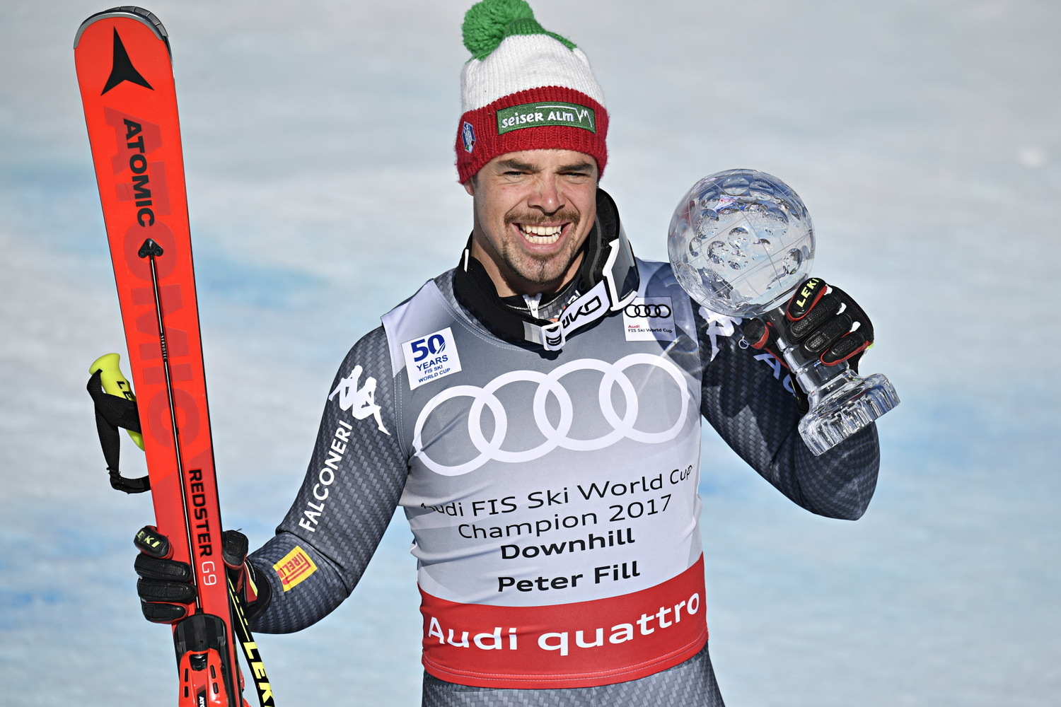 ASPEN, USA - MARCH 15: Peter Fill of Italy wins the globe in the overall standings during the Audi FIS Alpine Ski World Cup Finals Women's and Men's Downhill on March 15, 2017 in Aspen, USA (Photo by Francis Bompard/Agence Zoom)