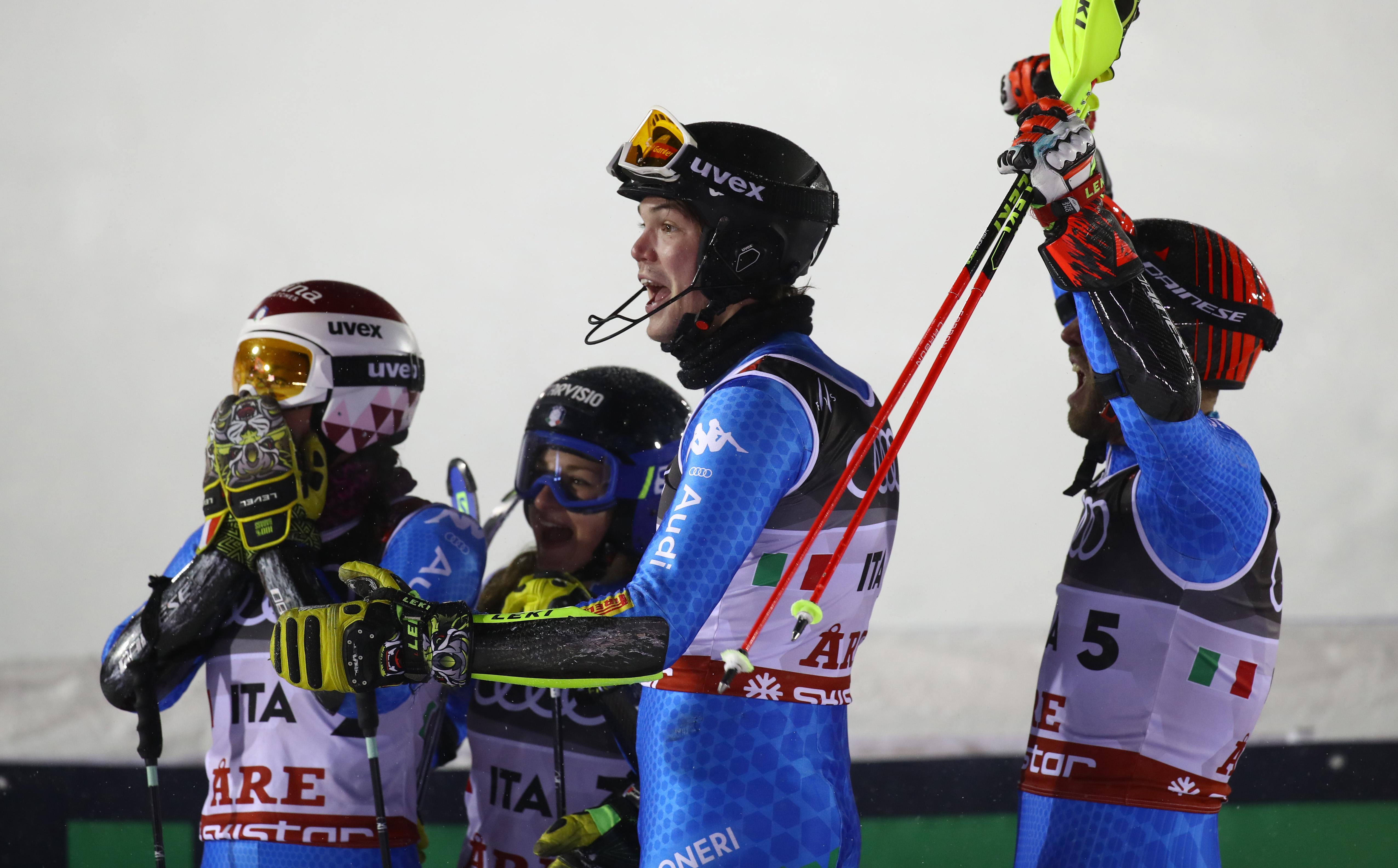 Ski World Championships ARE 2019 , Are, Sweden.12/2/2019.Team Italy bronze medalist in team eventCurtoni, Della Mea, Vinatzer, Maurberger. photo:Pentaphoto/Alessandro Trovati.