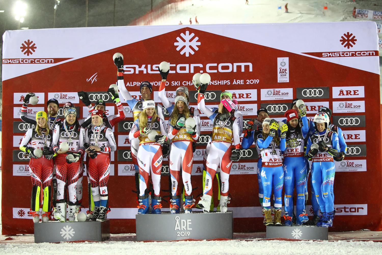 Fis Alpine  World Ski Championships 2019.                                                       Team Austria Suisse Italy in  team event  . Are (SWE), 12 febbraio 2019 Photo: Marco Trovati/Pentaphoto