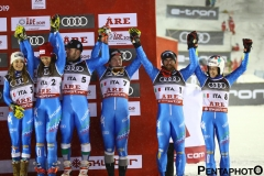 Fis Alpine  World Ski Championships 2019.                                                       Team Italy bronzo medalist in team event  . Are (SWE), 12 febbraio 2019 Photo: Marco Trovati/Pentaphoto