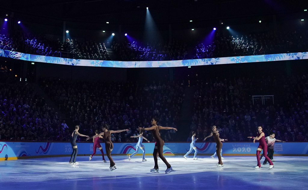 Naoki Rossi and other skaters performing as part of Story 2: Where it all starts, in the Lausanne Vaudoise Arena at the Opening Ceremony for the Winter Youth Olympic Games, Lausanne, Switzerland, Thursday 09 January 2020. Photo: OIS/Joe Toth. Handout image supplied by OIS/IOC.