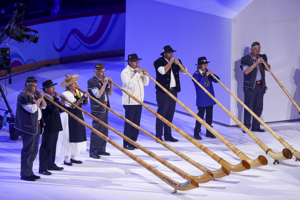 The national anthem is introduced by alphorn players (an instrument that is a typical Swiss national symbol) in the Lausanne Vaudoise Arena at the Opening Ceremony for the Winter Youth Olympic Games, Lausanne, Switzerland, Thursday 09 January 2020. Photo: OIS/Chloe Knott. Handout image supplied by OIS/IOC.