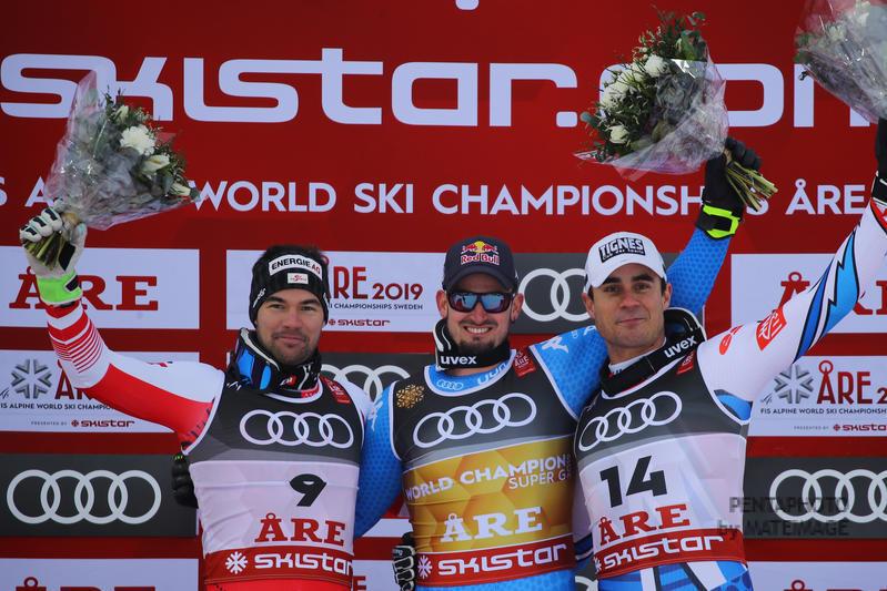 Fis Alpine  World Ski Championships 2019.     Vincent Kriechmayr (AUT)   Johan Clarey (FRA)Dominik Paris (ITA) Gold medal in superg      Are, 06 febbraio 2019. Photo: Marco Trovati/Pentaphoto