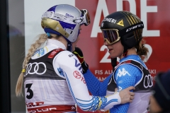 Fis Alpine Ski World Championships 2019.  Lindsey Vonn (USA) , Sofia Goggia (ITA) Are (SWE), 10 Febbraio 2019.Photo: Gio Auletta / Pentaphoto