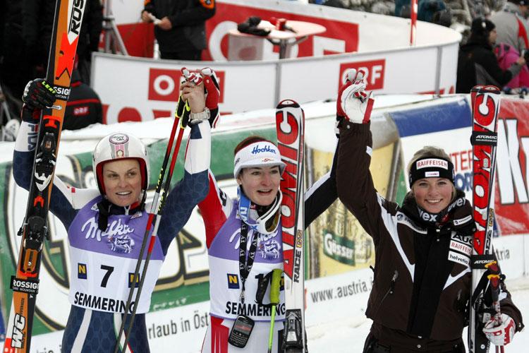Moelgg, Zettel e una giovanissima Lara Gut sul podio a Semmering dopo il gigante del 28 dicembre 2008 (@Zoom agence)