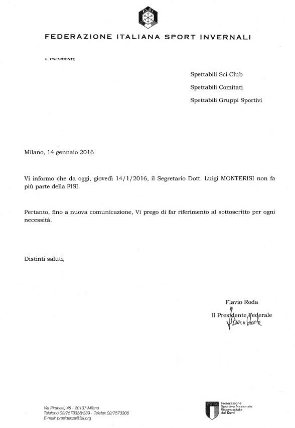 La lettera inviata dalla FISI a Club, Comitati e Gruppi Sportivi