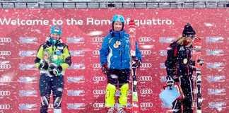 Lorini Il podio dello slalom di Sestriere