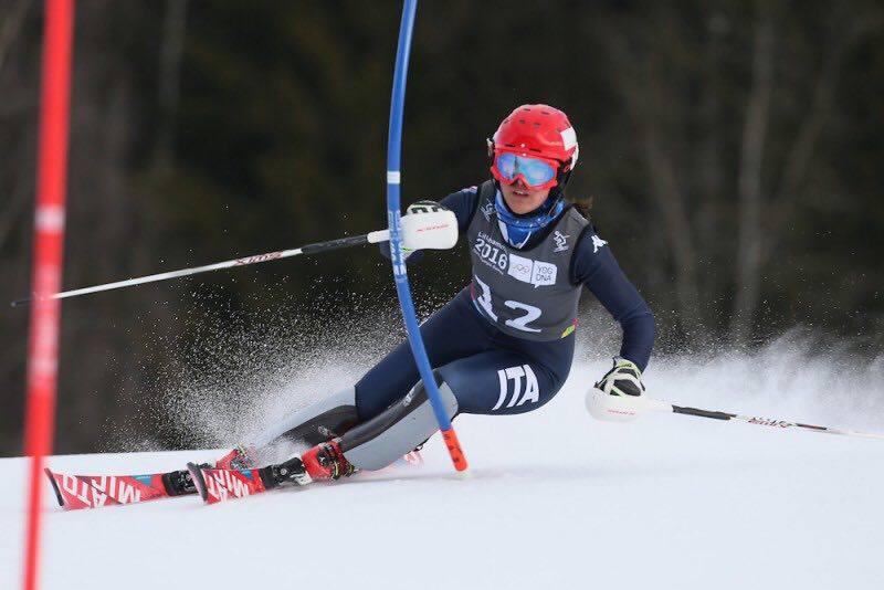 Carlotta Saracco in azione nello slalom dei Giochi Olimpici invernali giovanili ad Hafjell @Foto Saracco
