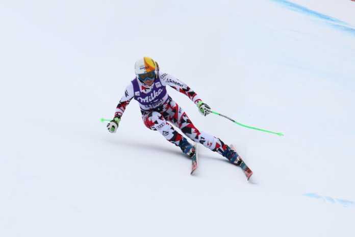 Cornelia Huetter in azione a La Thuile