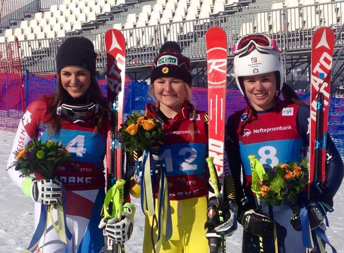 Scalvedi, Grenier, Delago. il podio Mondiale juniores di Sochi 2016 nella discesa