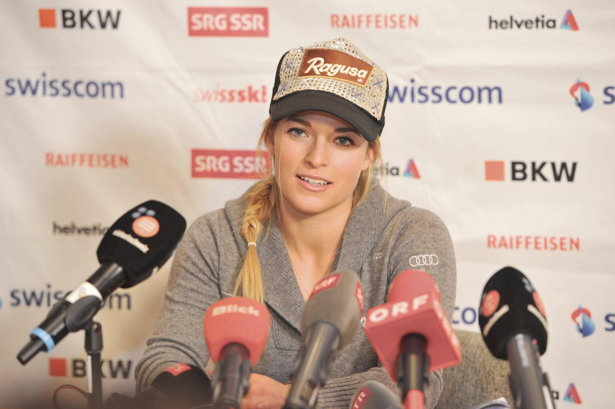Lara Gut in conferenza stampa a Lenzerheide @Pag. FB ufficiale Lenzerheide