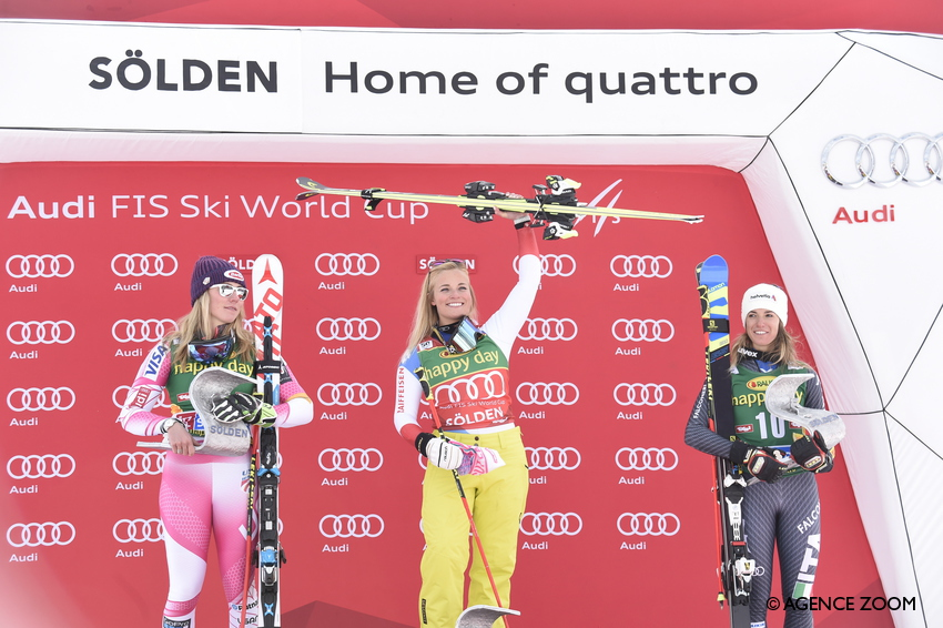 SOELDEN, AUSTRIA - OCTOBER 22: Lara Gut of Switzerland takes 1st place, Mikaela Shiffrin of USA takes 2nd place, Marta Bassino of Italy takes 3rd place during the Audi FIS Alpine Ski World Cup Women's Giant Slalom on October 22, 2016 in Soelden, Austria (Photo by Michel Cottin/Agence Zoom)