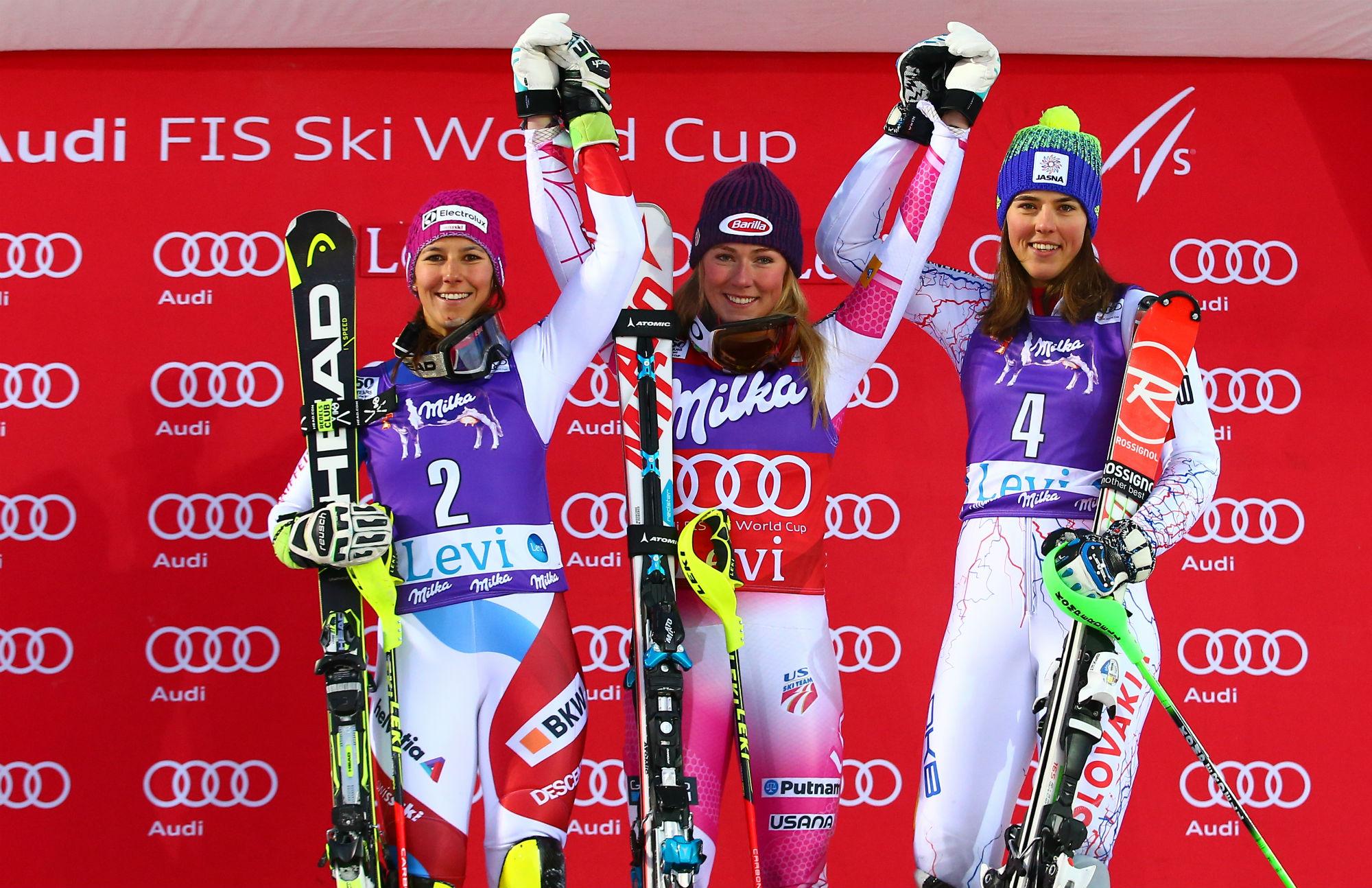 Wendy Holdener, Mikaela Shiffrin e Petra Vlhova: il podio di Levi in slalom (@Gepa Atomic)