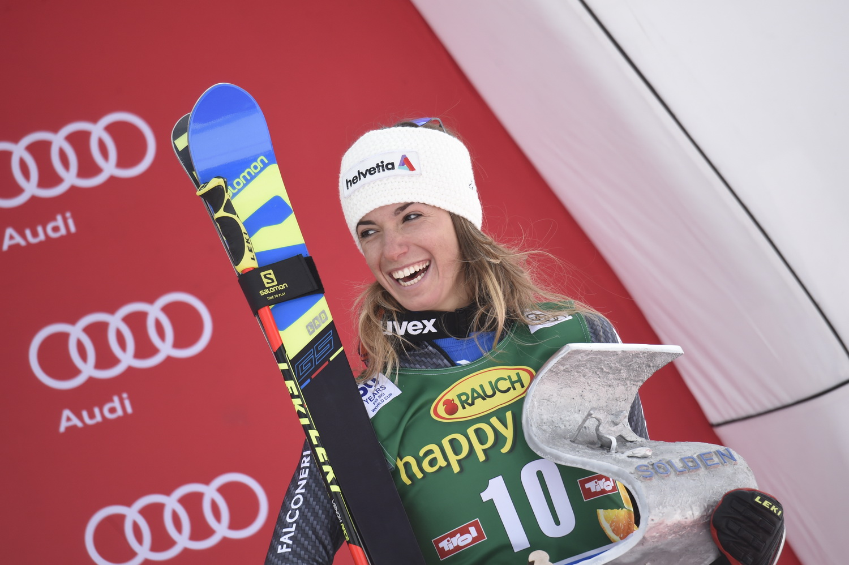 Marta Bassino sul podio di Soelden ©Agence Zoom