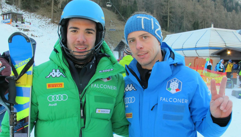 Giordano Ronci a fine gara con lo skiman Tiziano Vuerich ©Gabriele Pezzaglia