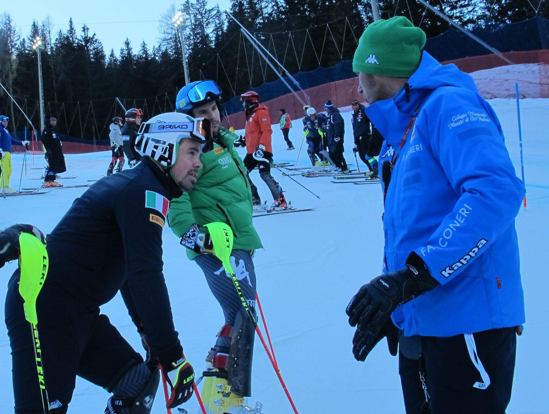 Max Carca con Peter Fill e Luca De Aliprandini in ricognizione dello slalom @Gabriele Pezzaglia