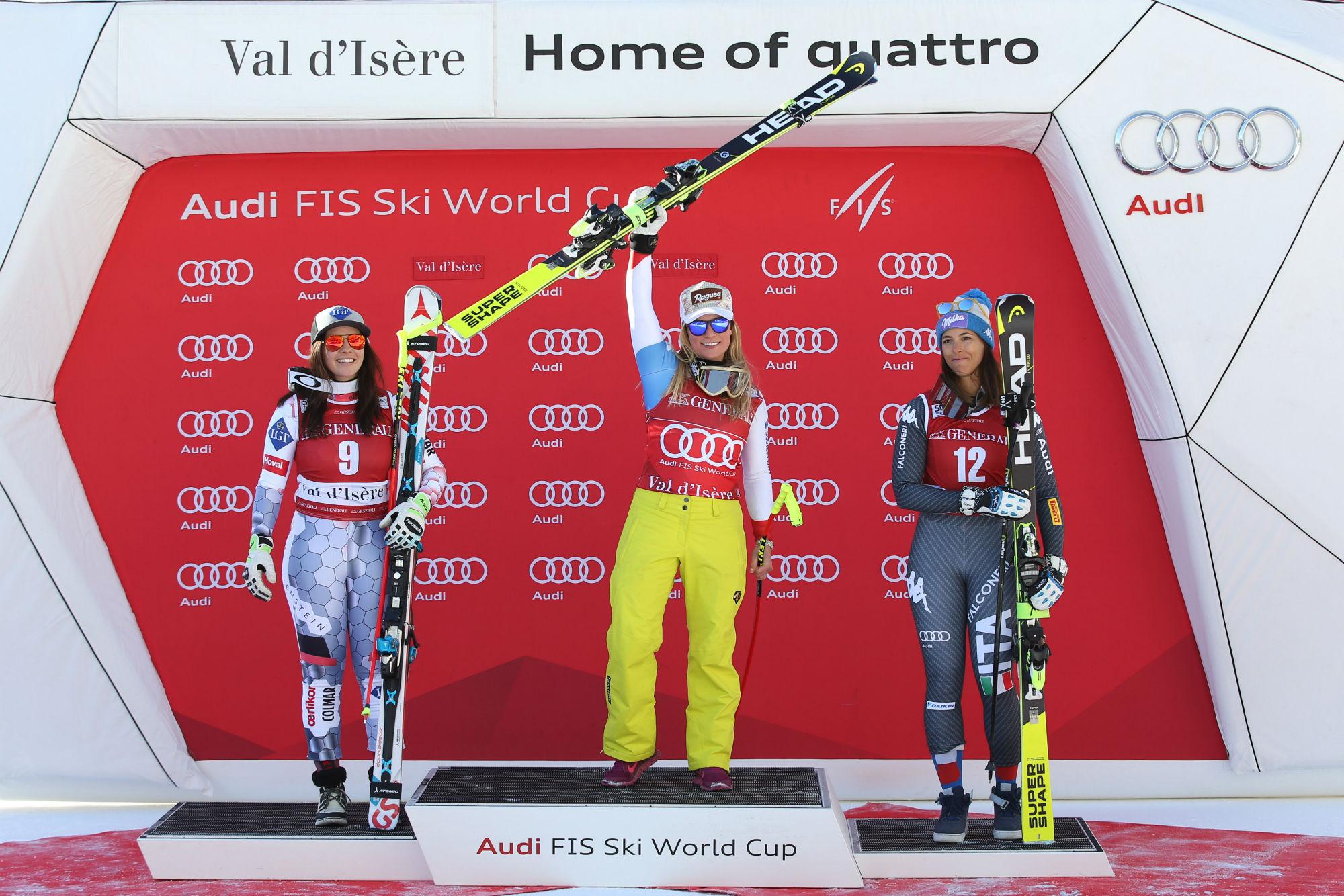 Tina Weirather, Lara Gut, Elena Curtoni sul podio in Val d'Isere nel secondo superG stagionale (@Zoom agence)