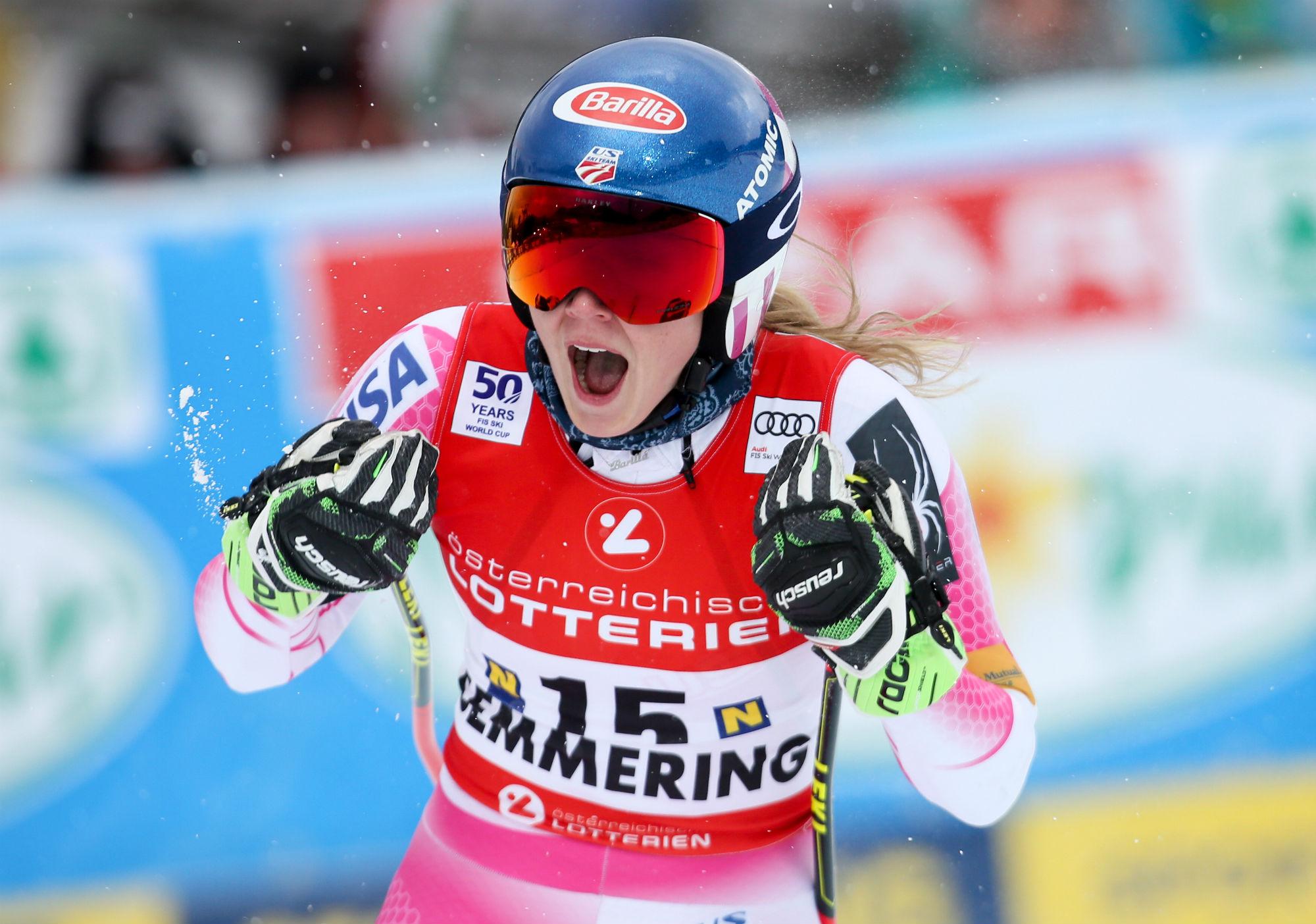 Mikaela Shiffrin esulta a Semmering per il 24° successo in Coppa (@Atomic Gepa)