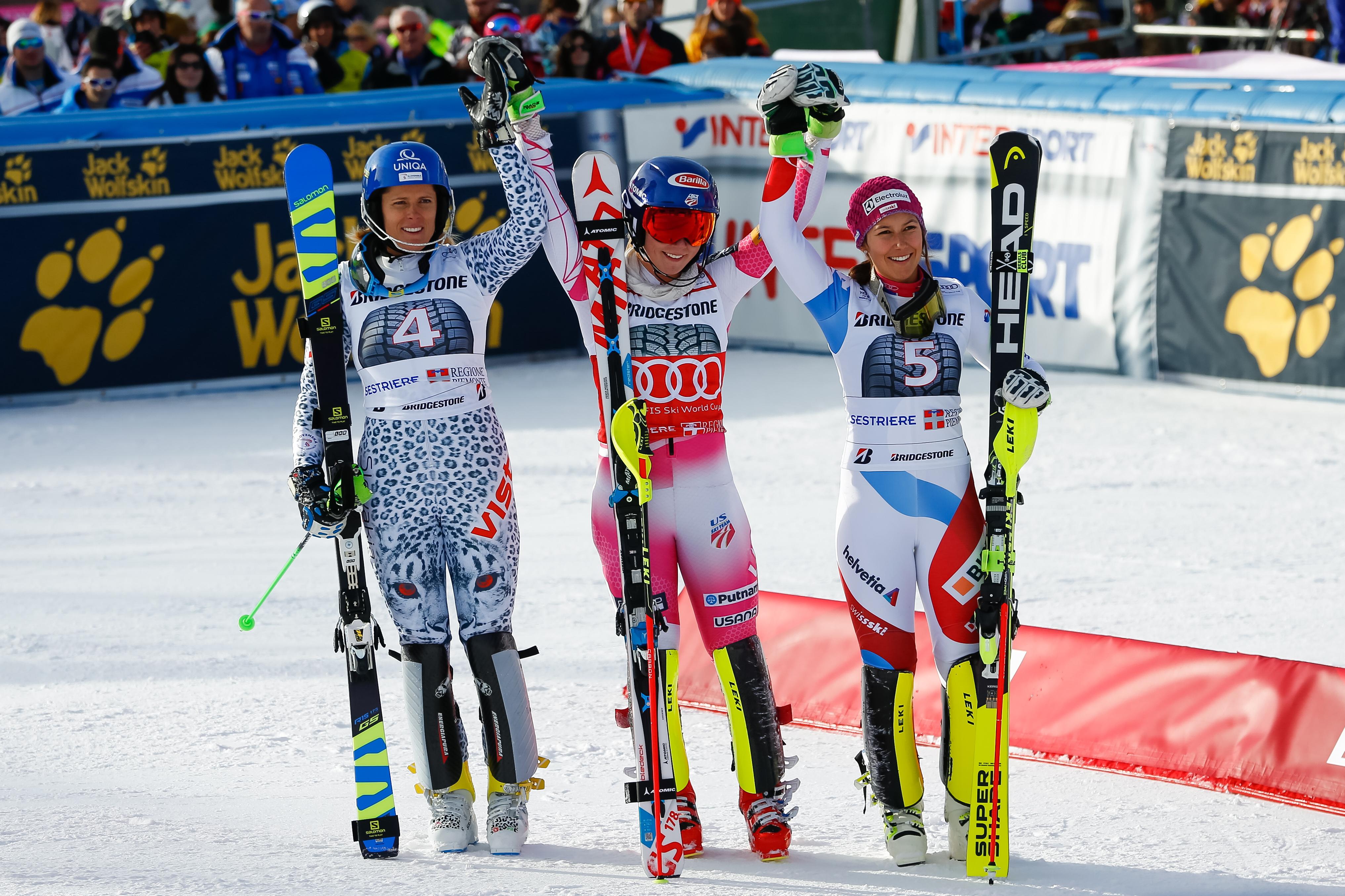 Il podio dello slalom ©Agence Zoom