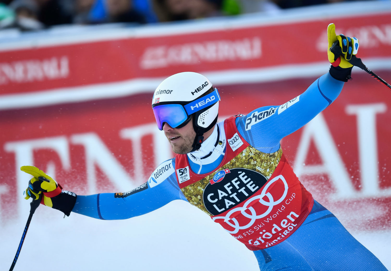Esulta Kjetil Jansrud nella finish area della Saslong ©Gabriele Pezzaglia