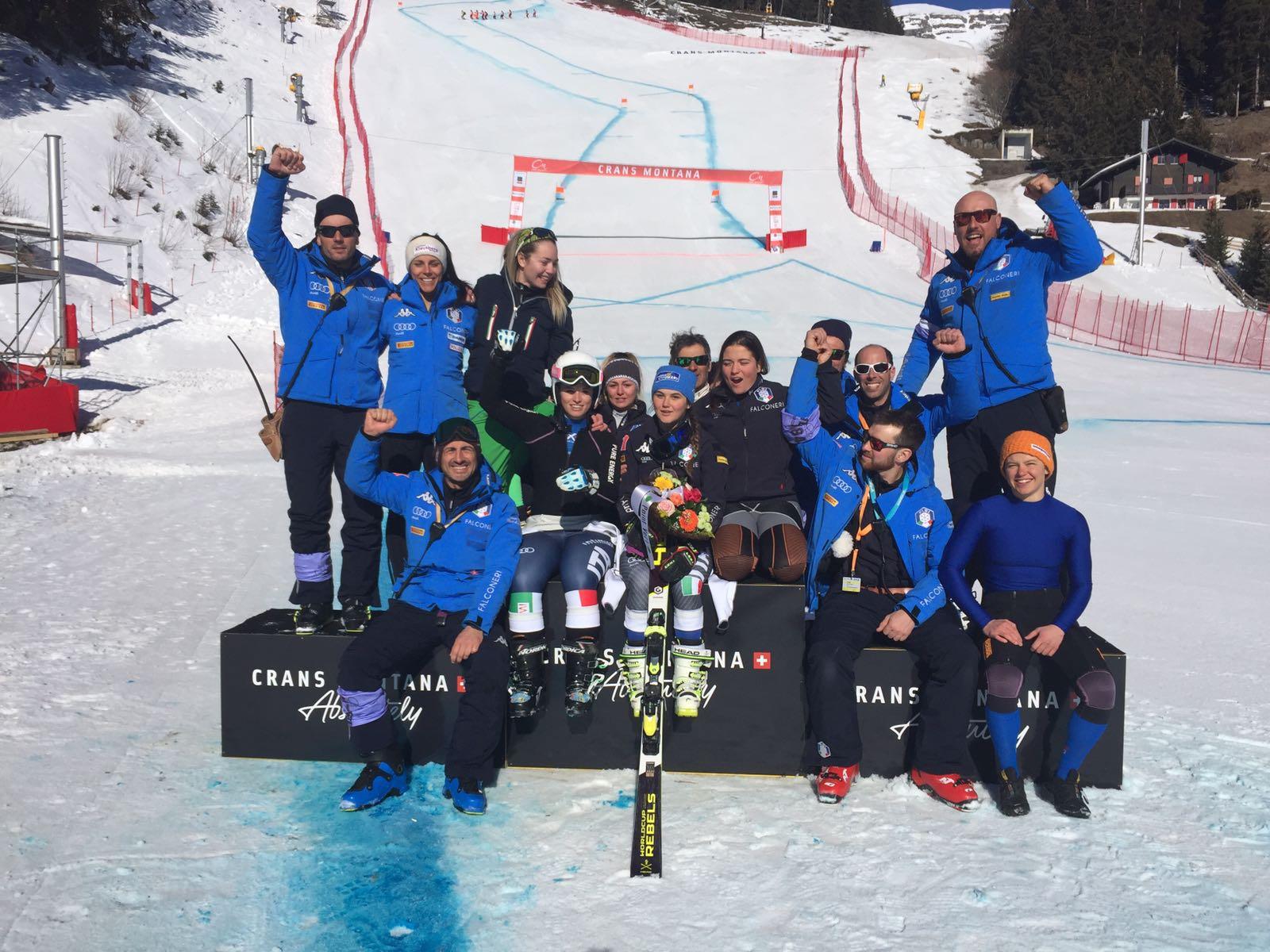 Festa azzurra sul podio a Crans Montana