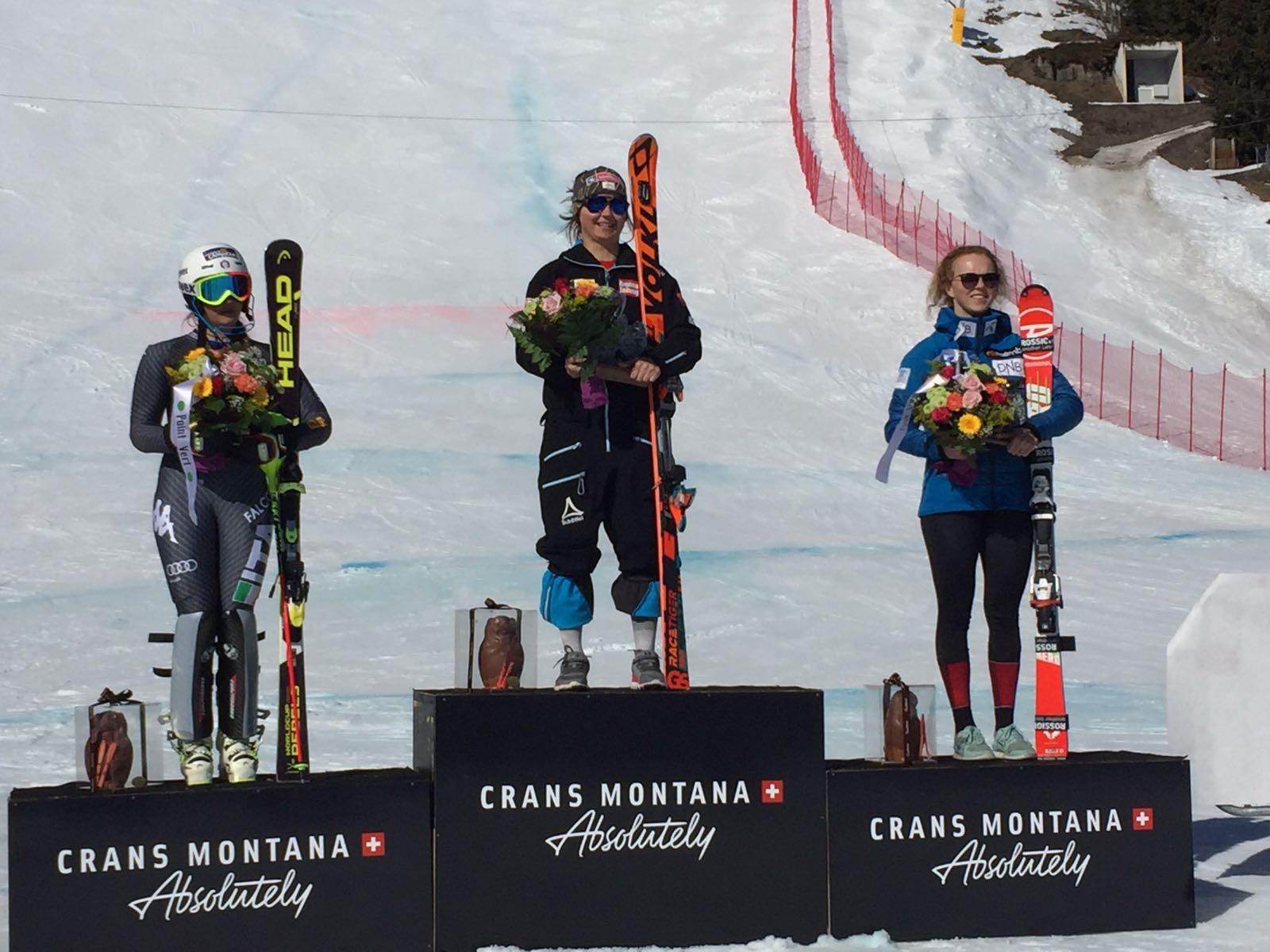 Pirovano, Maier, Lysdahl sul podio della seconda discesa a Crans Montana il 20 febbraio 2017