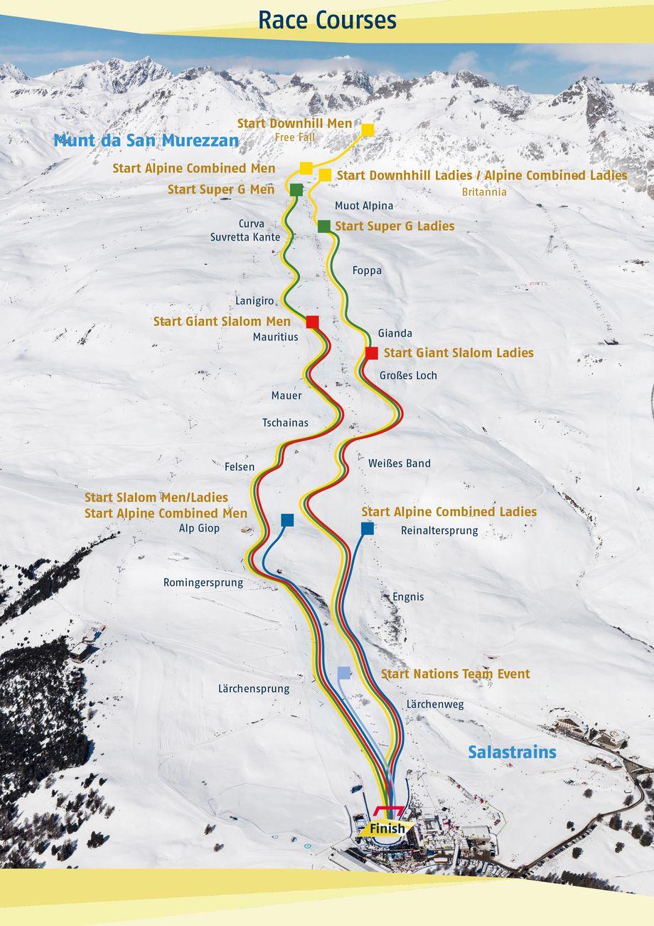 La mappa delle piste iridate (@stmoritz2017.ch)