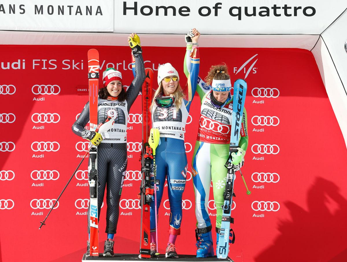 Federica Brignone, Mikaela Shiffrin, Ilka Stuhec sul podio della terza combinata alpina 2016-2017 a Crans Montana (@Zoom agence)