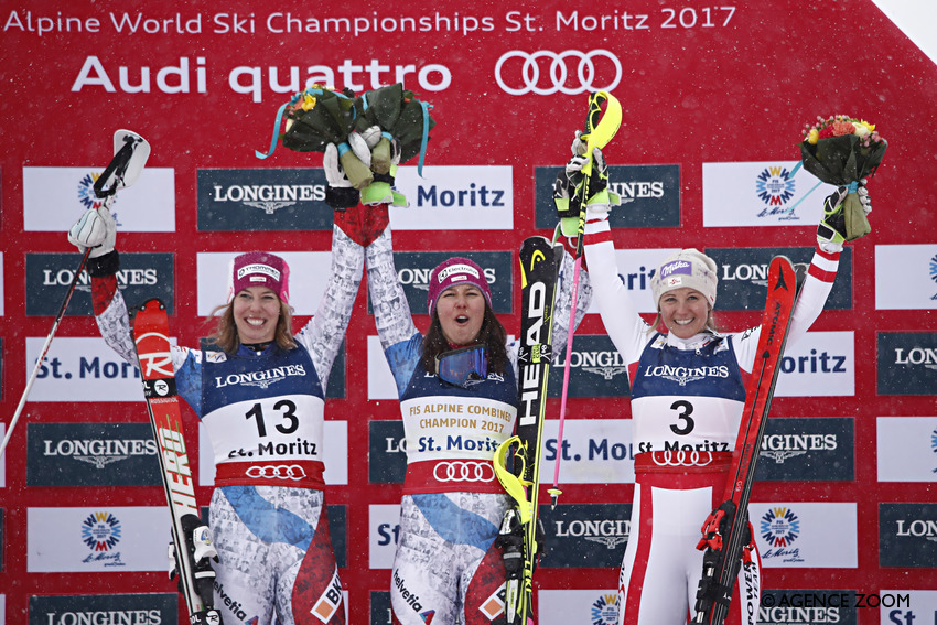 ST. MORITZ, SWITZERLAND Ð FEBRUARY 10: Michelle Gisin of Switzerland wins the silver medal, Wendy Holdener of Switzerland wins the gold medal, Michaela Kirchgasser of Austria wins the bronze medal during the FIS Alpine Ski World Championships Women's Alpine Combined on February 10, 2017 in St. Moritz, Switzerland (Photo by Hans Bezard/Agence Zoom)