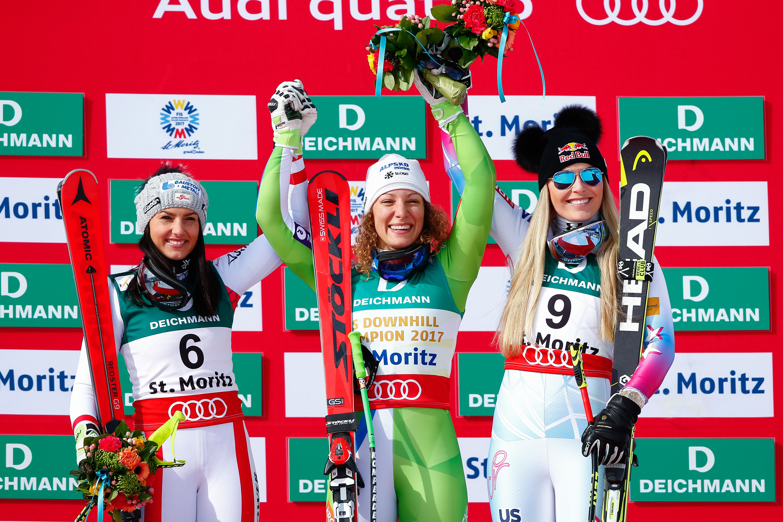 Il podio della discesa libera femminile di Sankt Moritz ©Agence Zoom