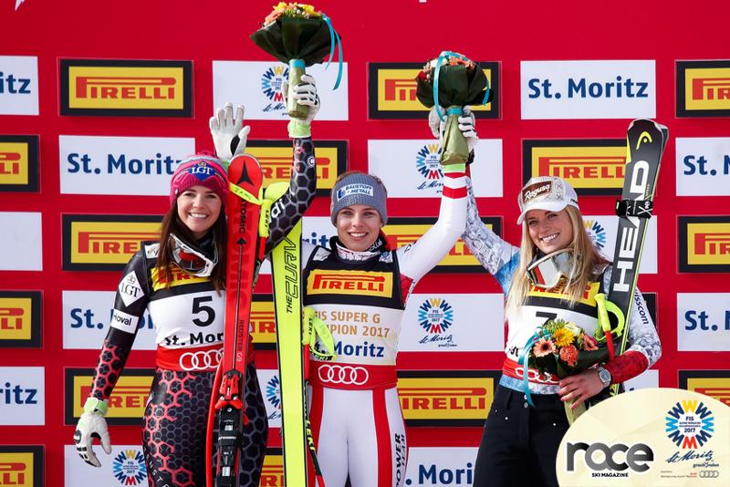 Da sinistra: Tina Weirather, argento; Nicole Schmidhofer, oro; Lara Gut, bronzo. Il podio del superG iridato a St Moritz 2017 (@Zoom agence)