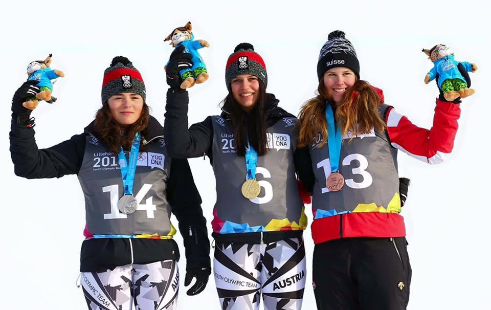Da sinistra: Julia Scheib, Nadine Fest, Aline Danioth sul podio del superG ai Giochi Olimpici Giovanili di Lillehammer 2016 (@Zoom agence)