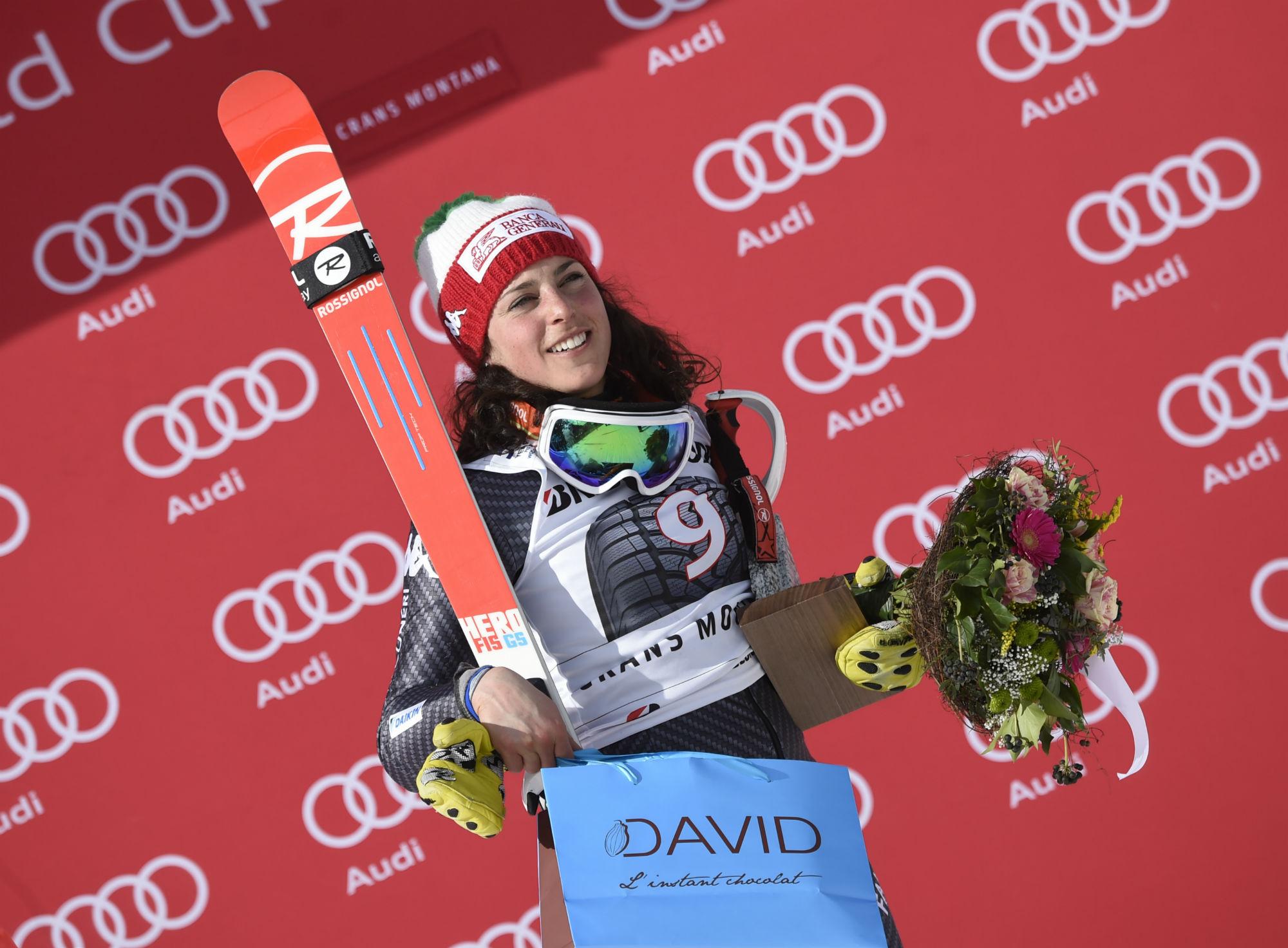 Federica Brignone sul podio a Crans Montana (@Zoom agence)