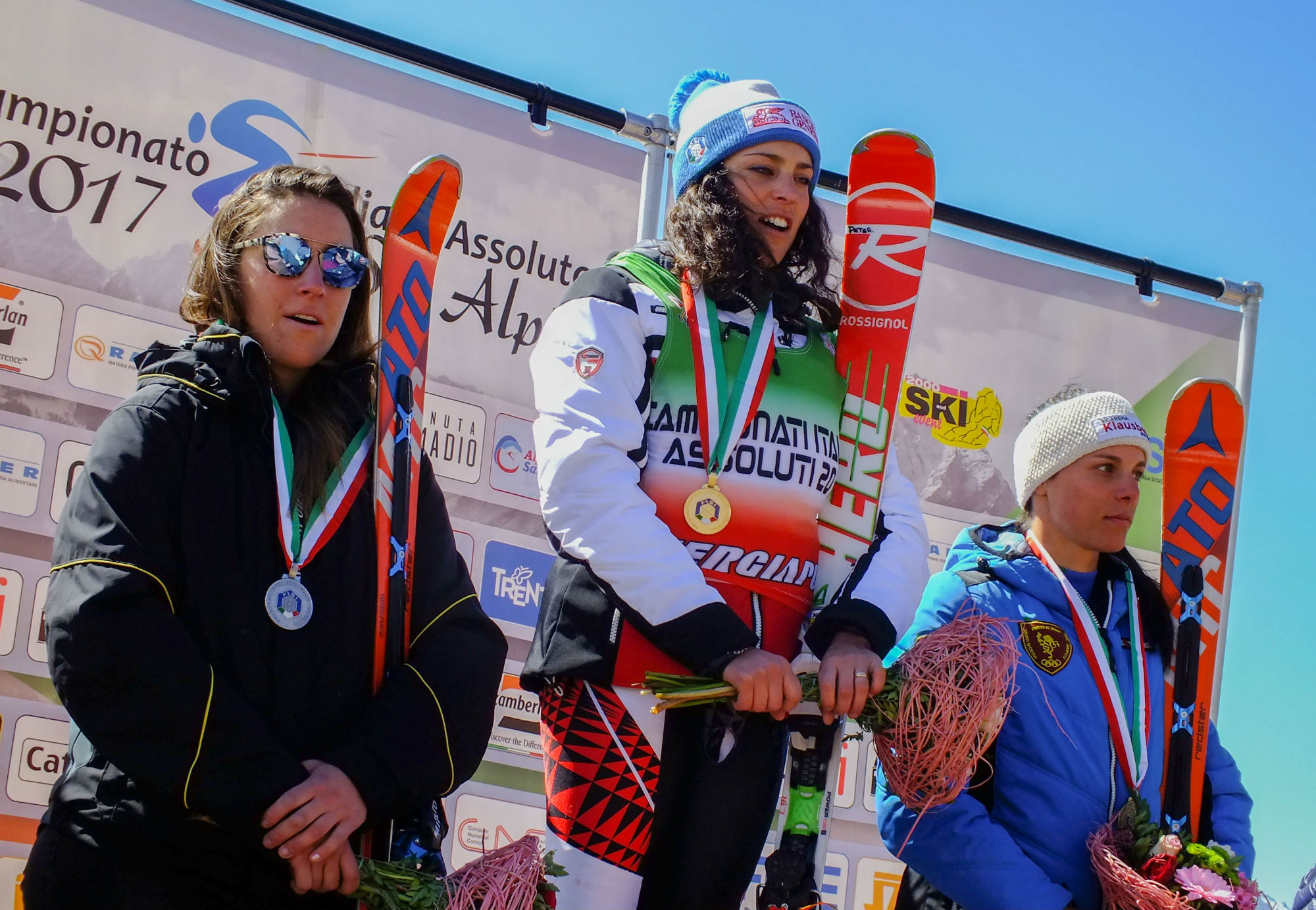 Sofia Goggia, Federica Brignone e Anna Hofer sul podio del superG tricolore al Passo San Pellegrino (@Ilario Tancon)