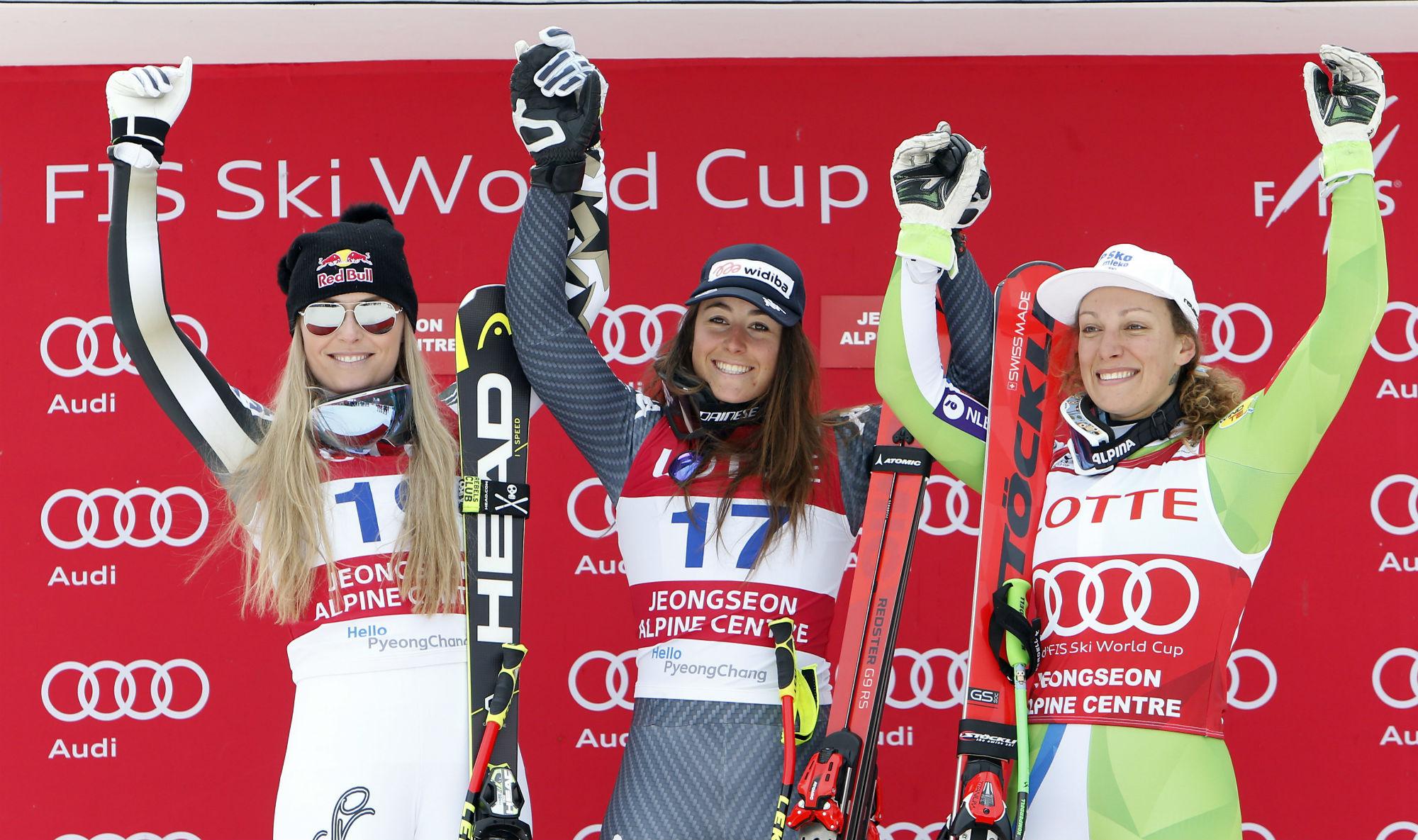 Da sinistra: Lindsey Vonn, Sofia Goggia e Ilka Stuhec sul podio del superG a Jeongseon (@Zoom agence)