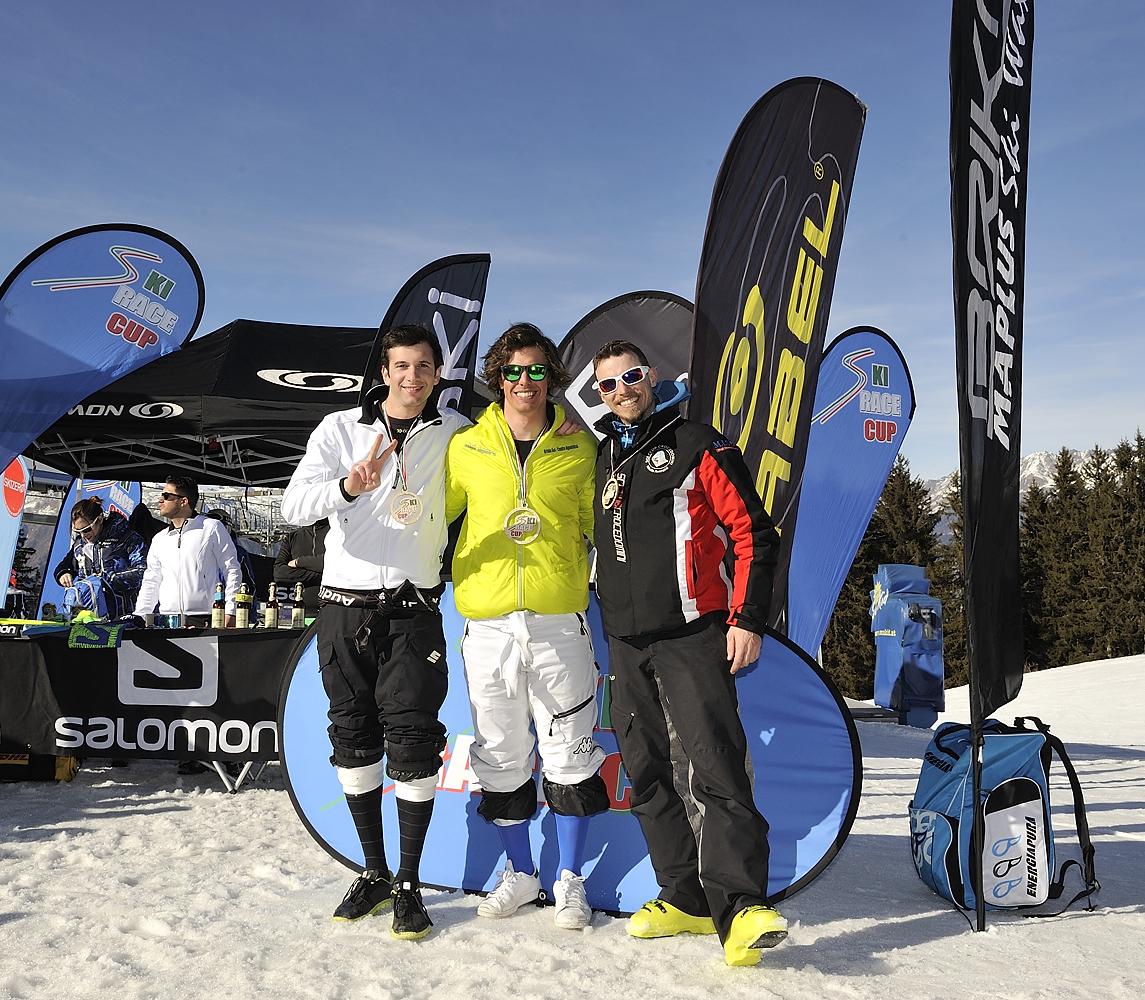 Il podio del primo gigante Senior: Simone Bellavita, Francesco Bertolini, Andrea Sorlini