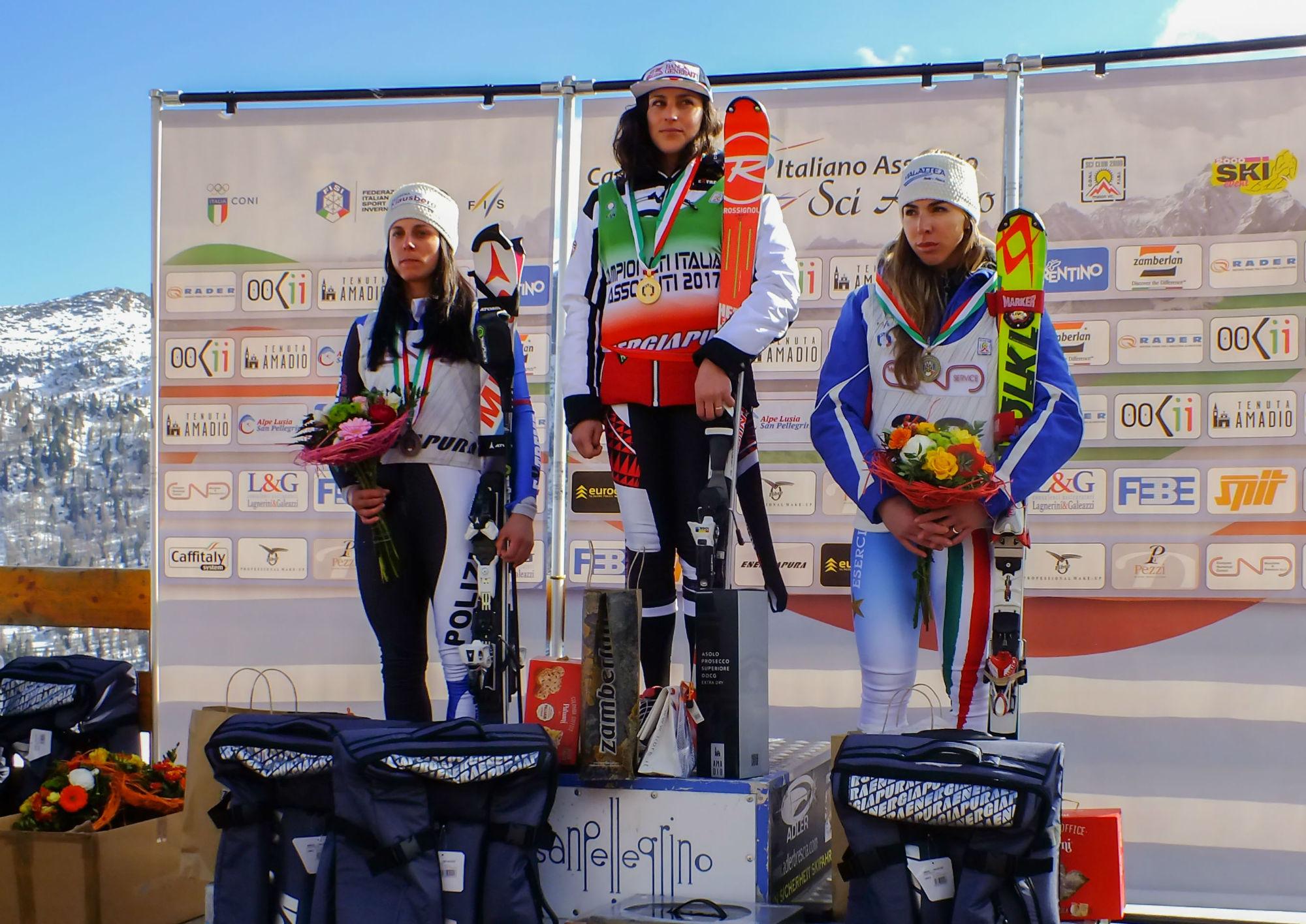 Anna Hofer, Federica Brignone e Francesca Marsaglia sul podio degli Assoluti in combinata alpina al Passo San Pellegrino (@Ilario Tancon)