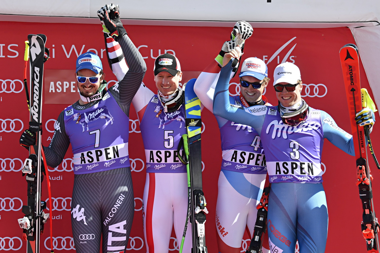 Il podio del superG di Aspen ©Agence Zoom